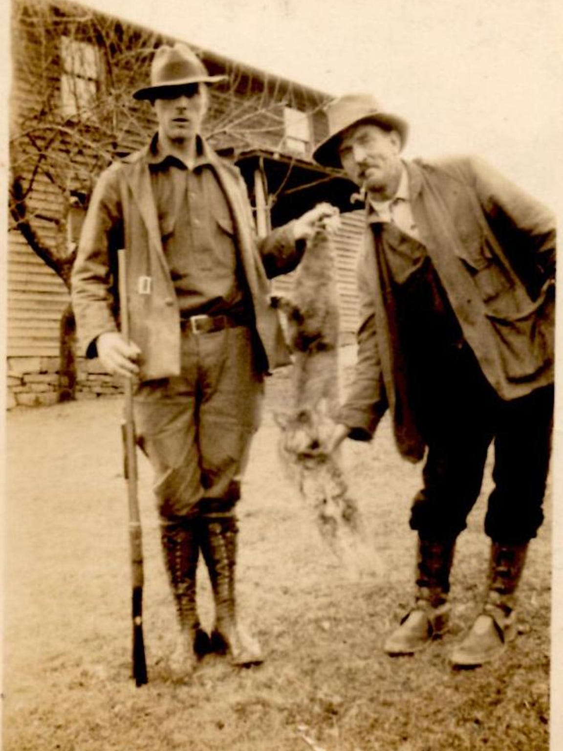 """Oliver """"Luke"""" Luther Mullenax, left, after hunting"""