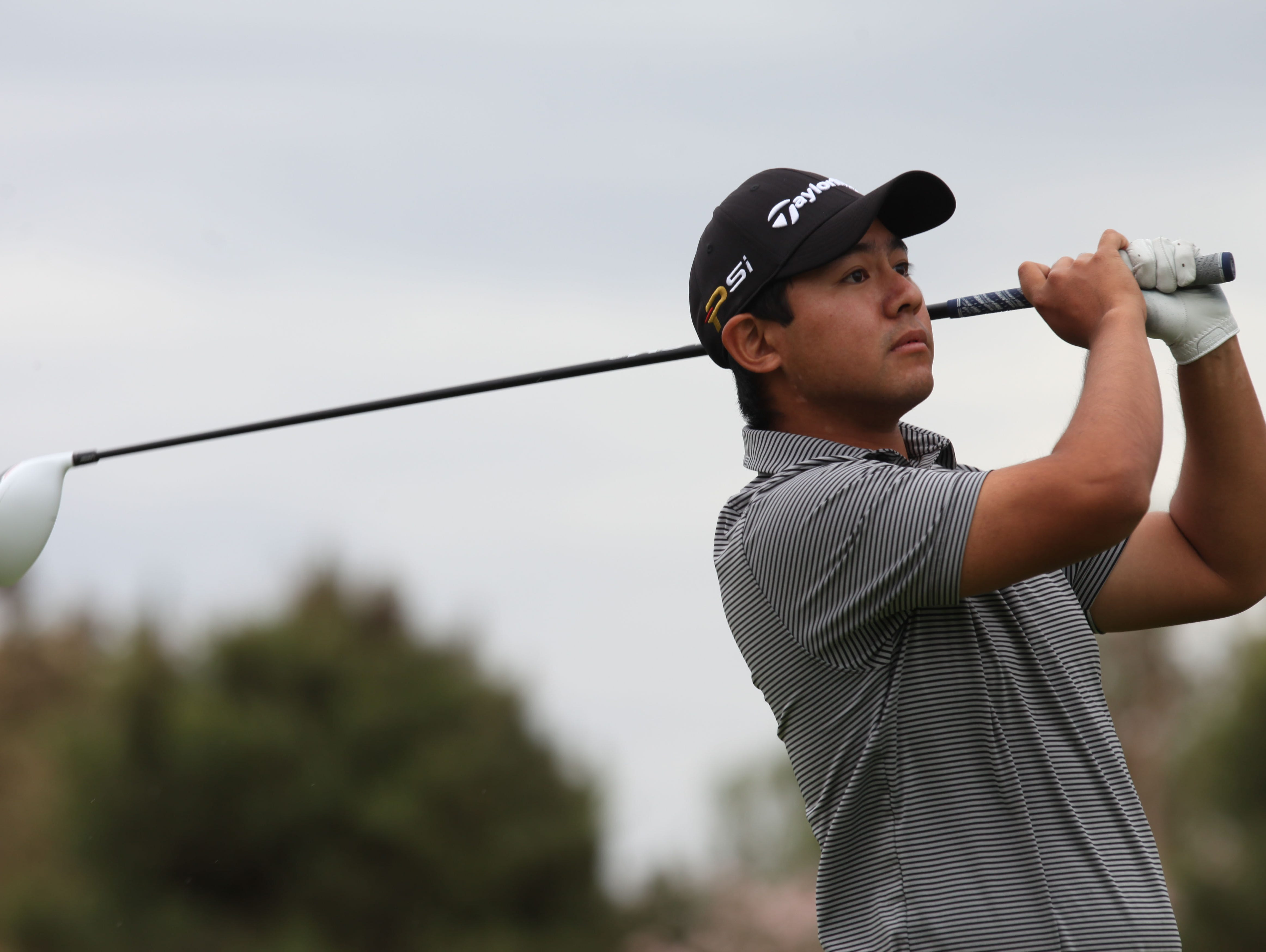 Shawn Tsai, of Xavier Preparatory, tees off on the first tee at the Classic Club in Palm Desert during a match against Palm Desert High School on April 7, 2016.