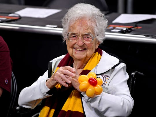 Loyola Ramblers team chaplain Sister Jean at the Final