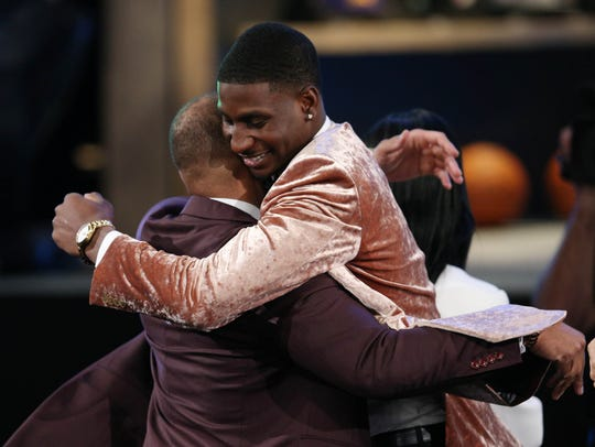 Jaren Jackson Jr. reacts after being selected No. 4 overall by the Grizzlies in last year's draft.