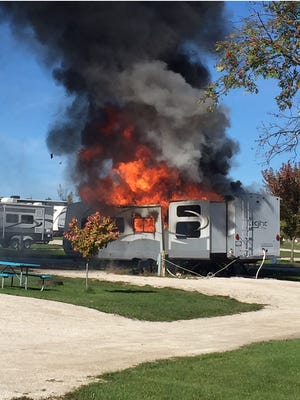 A camper at Beantown Campground in Baileys Harbor caught fire late Sunday morning.