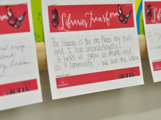 Regulars at the J.L. Robertson Branch Library have left note cards with messages about why they love the library.