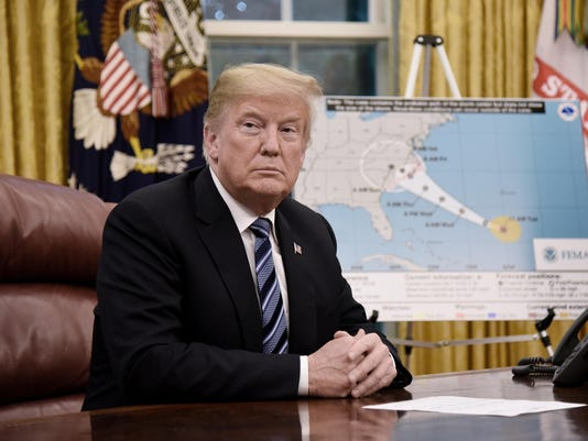 President Donald Trump attends briefing on the looming threat of Hurricane Florence - DC