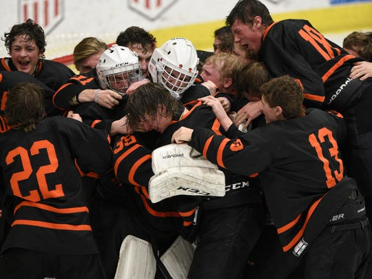 Goalie Harrison Fleming is mobbed by teammates after Brighton beat Saginaw Heritage, 5-2, in the state Division 1 championship hockey game on Saturday, March 10, 2018 at USA Arena in Plymouth.