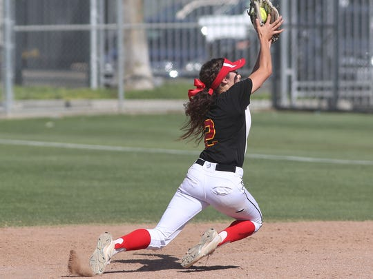 Jasmine Perezchica makes a nice play for an out against St. Paul, May 22, 2018.