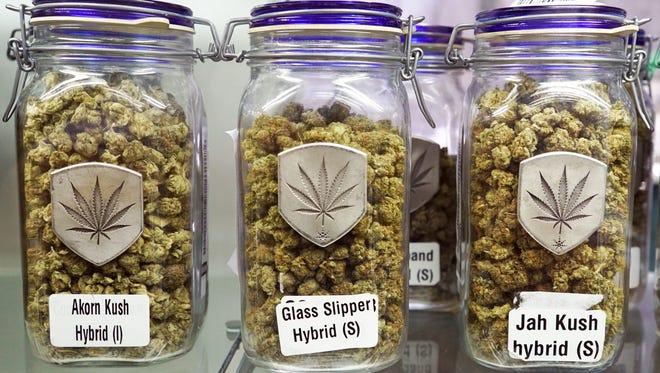 Jars of marijuana flowers fill the shelves of a dispensary in Colorado, where pot is legal. 90 percent of Tallahassee residents support Amendment 2 - a medicinal marijuana initiative.