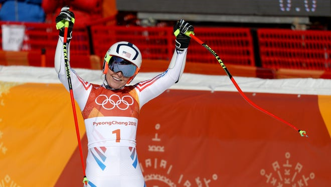 Lindsey Vonn (USA) reacts after her run in the alpine skiing Super-G event during the Pyeongchang 2018 Olympic Winter Games at Jeongseon Alpine Centre.