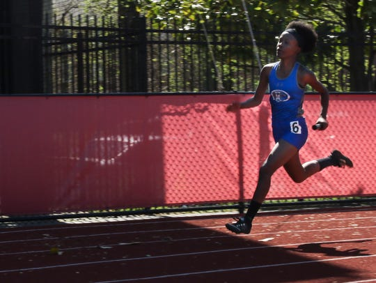 Fort Campbell's April Franklin competes in the girls'