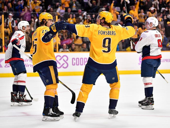 Nashville Predators right wing Craig Smith (15) celebrates