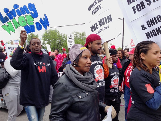 McDonald's protesters swarm headquarters