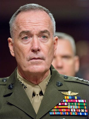 Gen. Joseph F. Dunford Jr., U.S. Marine Corps, chairman of the Joint Chiefs of Staff, testifies before the U.S. Senate Committee on Armed Services on the defense budget on Tuesday, June 13, 2017 on Capitol Hill in Washington, D.C. Dunford said Pentagon policy on transgender troops would not change until the White House has issued President Donald Trump's directive through formal channels. (Ron Sachs/CNP/Sipa USA/TNS)