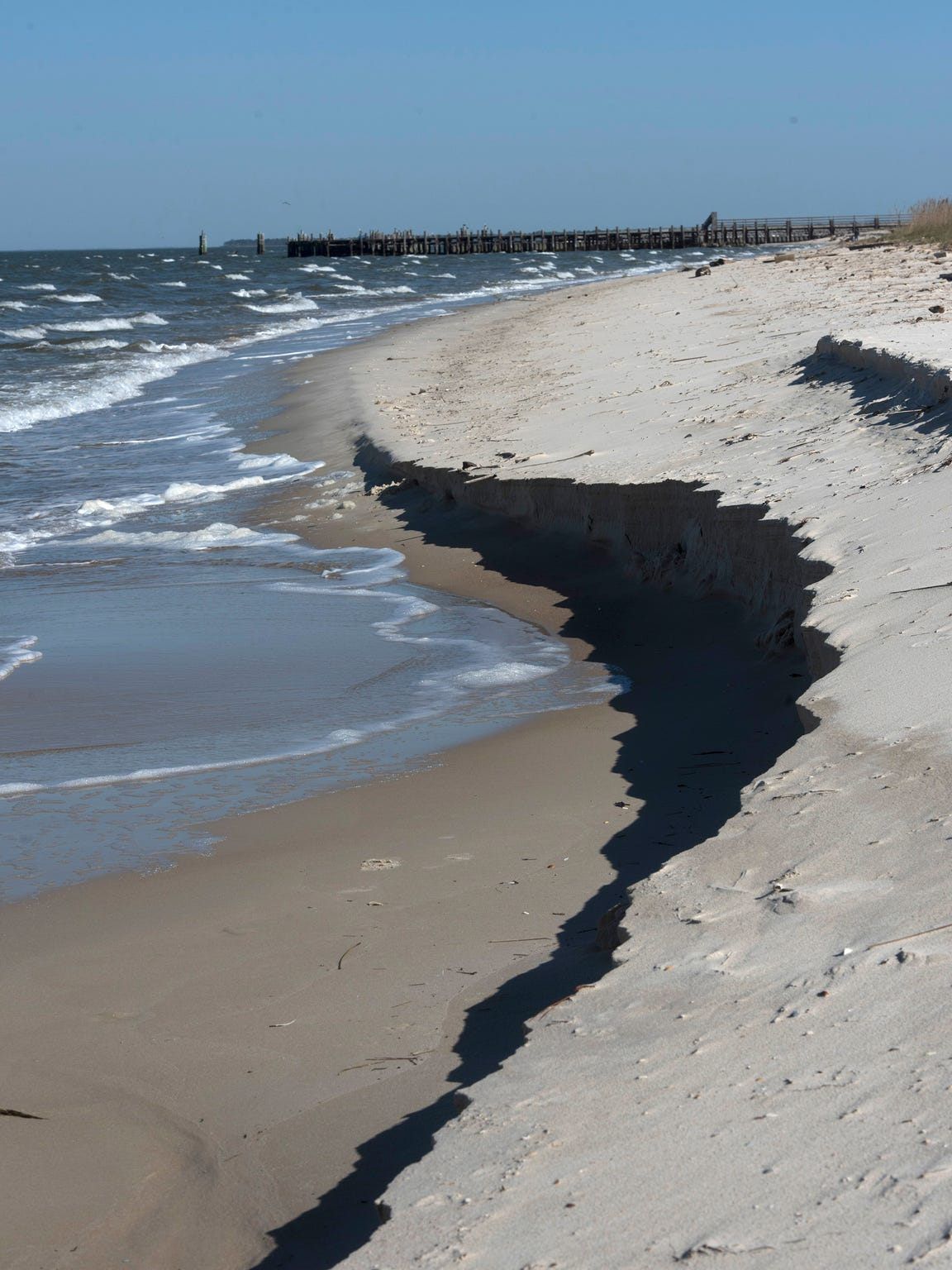 Waves and winds have eroded the beaches of the Fort