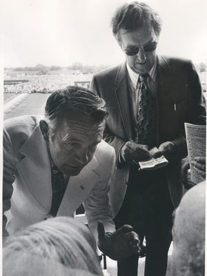 Gov. Wendell Ford at Churchill Downs with U.S. Sen. Ed Muskie.