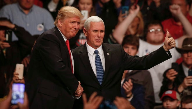 President-elect Donald Trump and Vice president-elect Mike Pence spoke to Iowans at Hy-Vee Hall in Des Moines on Thursday, Dec. 8, 2016.
