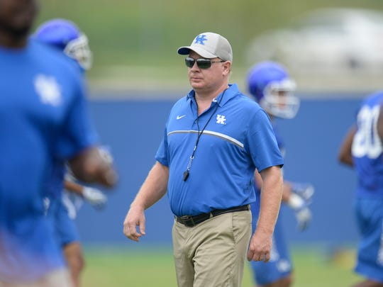 Head coach Mark Stoops during the UK football fan day in Lexington, Ky., on Saturday, Aug. 6, 2016.