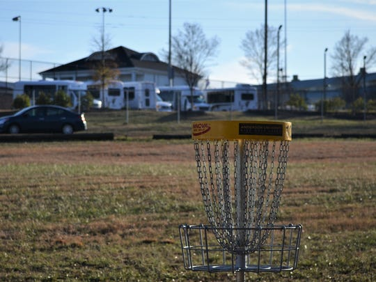 Disc golf targets can be seen from Old Williamston Road, across the street from Anderson University's Athletic Campus on Williamston Road.