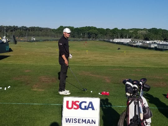 Ball State golfer Timothy Wiseman practices at the U.S. Open.