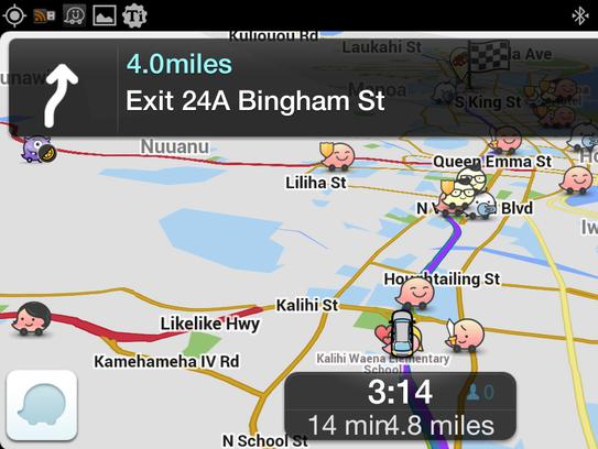 A screenshot of the app Waze.