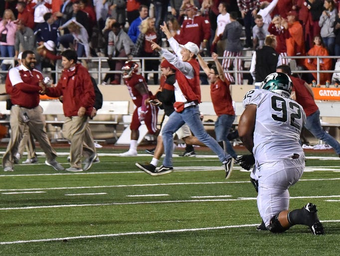 Michigan State's Kevin Willaims (92) watches in dismay
