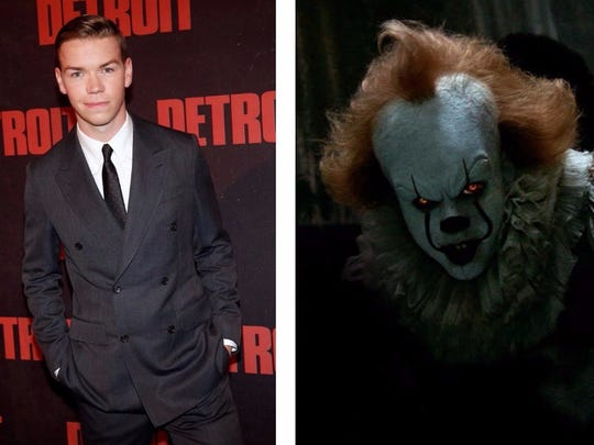 Will Poulter (left) and Bill Skarsgård as Pennywise