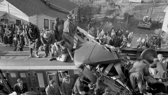 The scene of a train wreck near Greer in 1955.