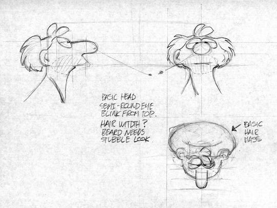 An orthographic drawing of a B.C. comic character.