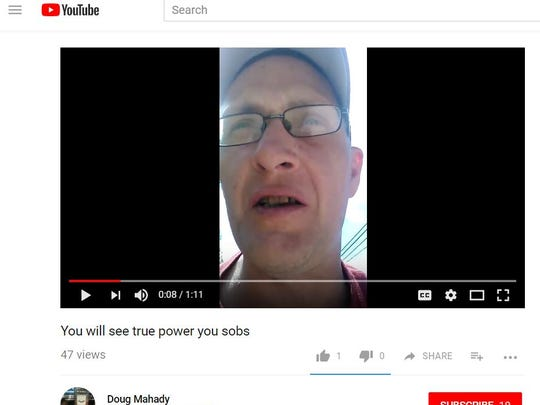 A screenshot of Douglas Mahady talking on a video he uploaded to his YouTube account earlier this year. Fairview Township Police charged him with threatening a man's life on another video.