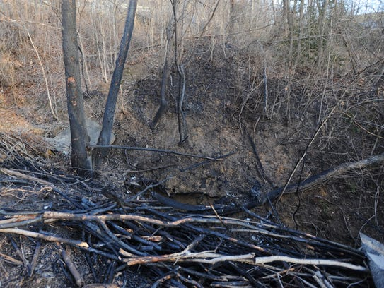 Burned trees and limbs remain behind Tuesday after