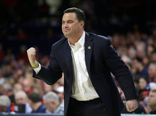 FILE - In this Saturday, Jan. 27, 2018 file photo, Arizona head coach Sean Miller in the first half during an NCAA college basketball game against Utah in Tucson, Ariz. The Arizona Board of Regents has scheduled a special meeting on Thursday, March 1, 2018jan. 27, 2018 file photo to get legal advice and discuss the men's basketball program at the University of Arizona and the contract of coach Sean Miller.(AP Photo/Rick Scuteri, File)