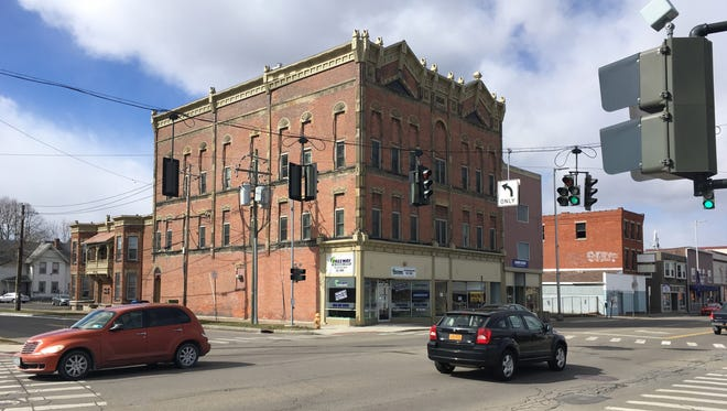 The Miller Block and townhouse as it looks today on South Main Street in Elmira.