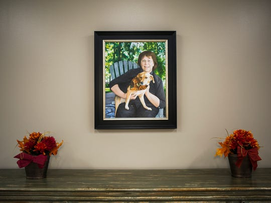 A portrait of Collierville's first and only mayor, Linda Kerley, hangs inside the Linda Kerley Senior Center in Collierville on Oct. 24, 2017. Kerley died in 2013 at the age of 65.
