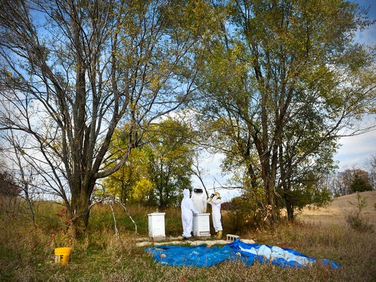 Beekeepers Erin Gutwasser, left, and Amanda Loewen, right, get ready to open one of their hives with Vern Heise, vice president of the Tri-County Beekeepers Association Sunday near Kimball.