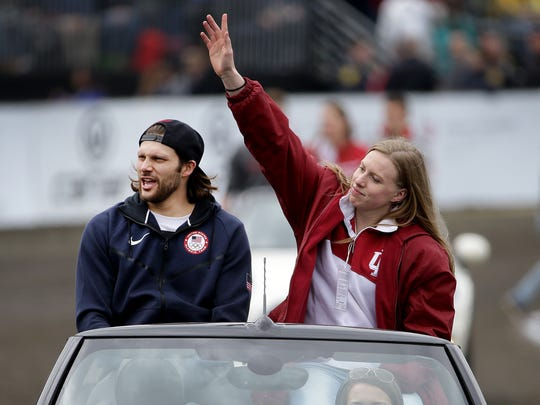 IU and Olympic swimmers Lilly King and Cody Miller,