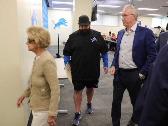 Matt Patricia, center, Lions president Rod Wood, right, and owner Martha Ford, left, leave Thursday's press conference in Allen Park.
