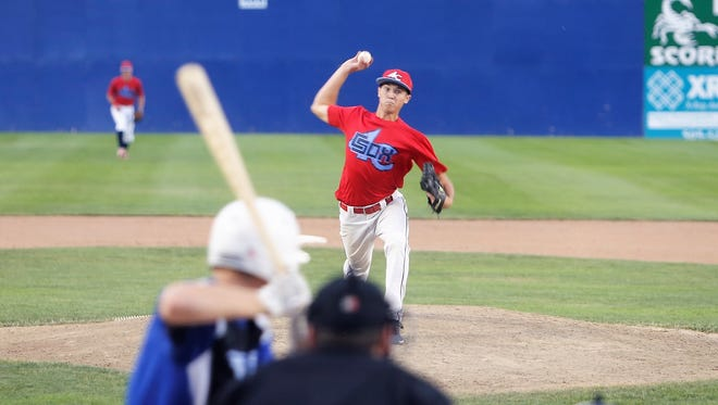 4-C pitcher Brandon Atkins pitches against the Fuel on Saturday at Ricketts Park.