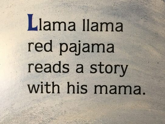 The first page of the book 'Llama Llama Red Pajama'
