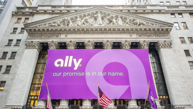 Ally Financial's banner on the facade of the NYSE on April 10, 20143, the day the bank again became a public company.