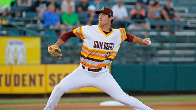 Arizona State pitcher Ryan Kellogg (49) throws against  Stanford in the first inning  of their NCAA baseball game Saturday, March 28, 2015  in Tempe, Ariz.