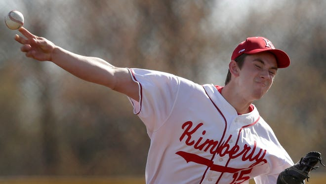 Kimberly High School starting pitcher Brice Swick delivers against Appleton North High School during their game Tuesday in Kimberly.