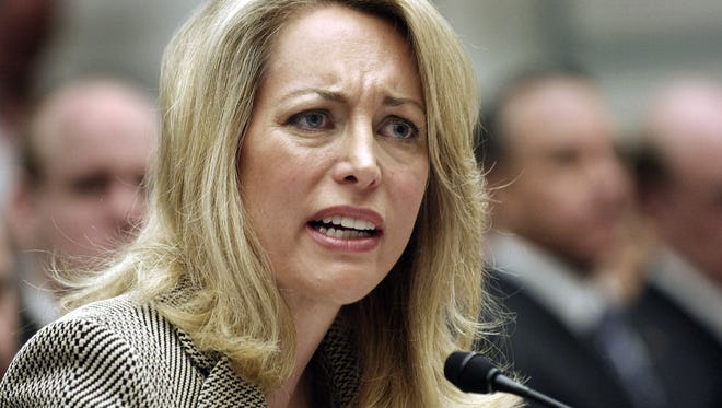 Former CIA covert agent Valerie Plame Wilson testifies to a House committee in 2007.