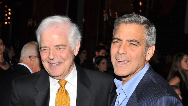 "Nick and George Clooney at the opening of Clooney's ""The Ides of March"" in 2011, inspired by father Nick Clooney's 2004 run for Congress."