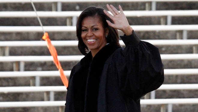 First Lady Michelle Obama is shown during the Oregon State University graduation ceremony in 2012.