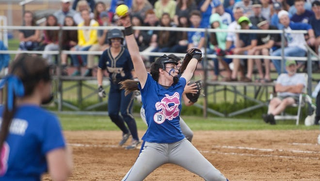 Colchester pitcher Riley Magoon winds up for a pitch against Essex during a Division I softball semifinal earlier this month.