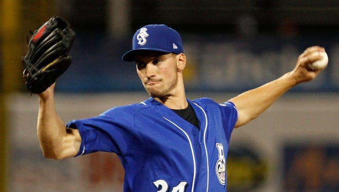 Brent Suter, pictured pitching last season for Class AA Biloxi, is 6-6 with a 3.50 ERA at Class AAA Colorado Springs this season.