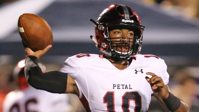 Petal's Tanner Estill (10) releases a pass in the first half. Pearl and Petal played in a Class 6A football game on Friday, Sept. 23, 2016. Photo by Keith Warren