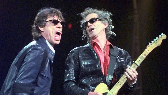 Mick Jagger and Keith Richards of the Rolling Stones, headlining the first night of Desert Trip.