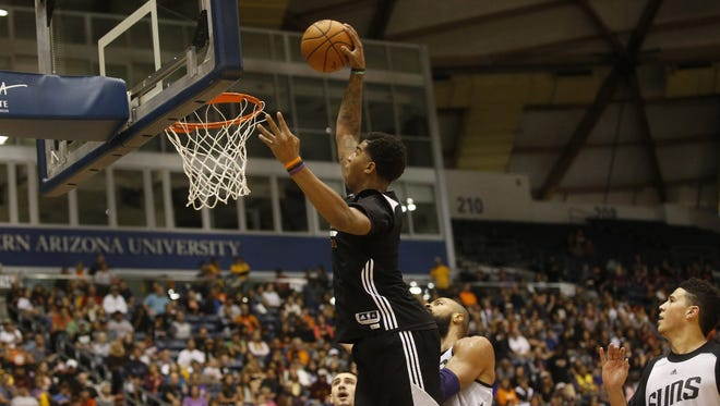Phoenix Suns forward Marquese Chriss dunks the ball during a preseason scrimmage at Walkup Skydome at Northern Arizona University in Flagstaff on October 2, 2016.
