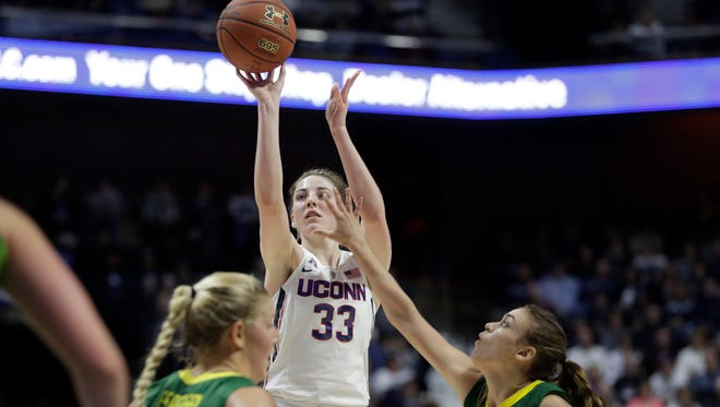 Connecticut's Katie Lou Samuelson makes one of her 10 three-pointers against South Florida during the first half of the AAC Tournament championship game.