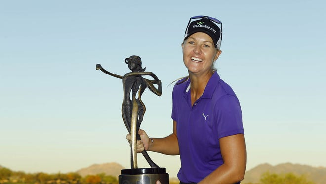 Anna Nordqvist celebrates her win following the final round of the LPGA Bank of Hope Founders Cup at the Wildfire Golf Club Sunday, Mar. 19, 2017 in Phoenix, Ariz.