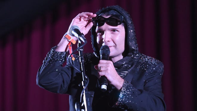 Actor Corey Feldman is seen on stage during the 2015 Bonnaroo Music & Arts Festival - Day 2 on June 12, 2015 in Manchester, Tennessee.